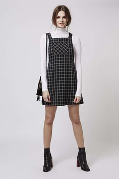 black & white // pinafore dress & long sleeve, boots