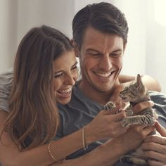 happy couple with kitten - Google Search