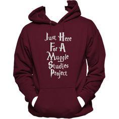 Just Here for a Muggle Studies Project Unisex Hoodie, Muggles Hoodie,... ($39) ❤ liked on Polyvore featuring tops, hoodies, jackets, hooded pullover, hooded sweatshirt, print hoodies, unisex hoodies and purple hooded sweatshirt