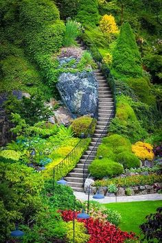 Butchart Gardens Stairs in Vancouver Island, BC, Canada