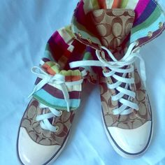 Authentic Coach shoes Gently used Coach shoes. Colorful low cut or go with everything coach high top. Make me an offer Coach Shoes Sneakers