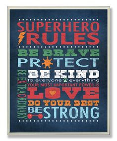 Look what I found on #zulily! 'Superhero Rules' Wall Art by The Kids Room by Stupell #zulilyfinds