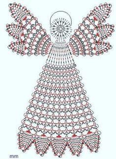 lady with crochet male aniolki Crochet Christmas Decorations, Crochet Decoration, Christmas Crochet Patterns, Holiday Crochet, Crochet Snowflakes, Crochet Angel Pattern, Crochet Angels, Crochet Diagram, Thread Crochet