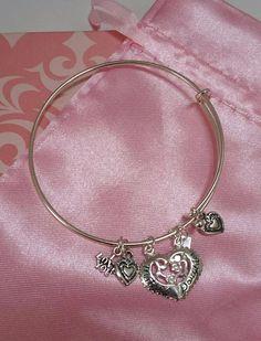 NEW Adjustable Sterling Silver Bangle Bracelet Charm Mom Daughter Mothers Day