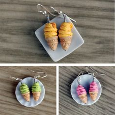 Polymer Clay Miniature Food Jewelry: Soft Serve Ice Cream Cone Dangle Earrings - choose from mango, green tea and strawberry. $14.00, via Etsy.