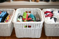 How To Organize Reusable Bags in baskets. throw out old bags, fold and place in baskets.