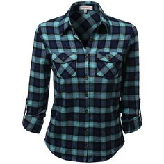 Awesome21 Women's Flannel Plaid Checker Rolled up Shirts Blouse Top (80 RON) ❤ liked on Polyvore featuring tops, blouses, shirts, long sleeves, blue checkered shirt, blue flannel shirt, tartan shirt, tartan flannel shirt and blue plaid shirt