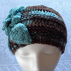 Airy Garter Earth and Sky knitted Woman's Hat by LaBufandaLLC