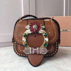 d5ec6426c343 Miu Miu Studs and Jeweled Buckle Dahlia Shoulder Bag 5BH019 Brown 2016