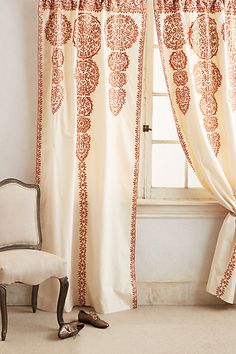 Marrakech Curtain #anthropologie With green embroidery, these are beautiful in my office - would love to find a place for the cream on cream.