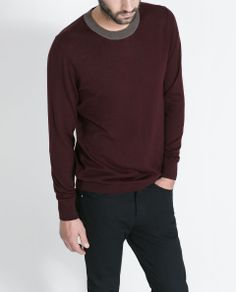 4901f476e28d ZARA - MAN - SWEATER WITH CONTRASTING COLLAR Zara Man, Contrast Collar, Man  Sweater