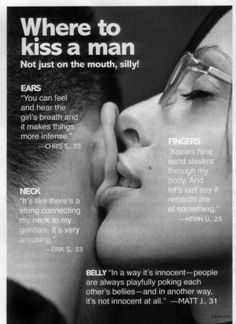 where to kiss a man ? not just on the mouth, silly. oh romance hehe