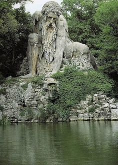 """This amazing statue is called Il Colosso dell'Appennino (""""The Apennine Colossus"""") and is about 12 km from Florence, Italy."""