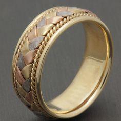 8mm 14K Tri Color Gold Hand-Woven Basket by WeddingRingsOutlet