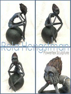 """""""Melancholia"""": Powertex(klei) beeld 44 cm hoog. Gemaakt door Rola Hengstman (geïnspireerd door plaatjes van het internet)"""
