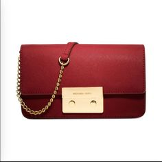"""✨3X HP✨MK Sloan Chain Crossbody Brand new with tag! Michael Kors Sloan Crossbody in Mandarin Chili Red color. Dimensions are 7"""" X 5"""" X 2"""". It comes with external side compartment, adjustable long strap and gold hardware. Original Price shown reflects what I paid including tax! Cover photo is not mine! Negotiable on M e r c a r i ! Michael Kors Bags Crossbody Bags"""