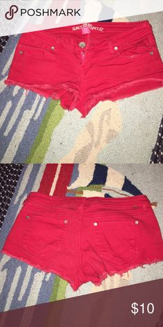 Super short red shorts Cute little red shorts Almost Famous Shorts Jean Shorts