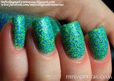 Ninja Polish Floam® has matte neon blue and yellow-green fine glitter in a clear base. Original and the best!