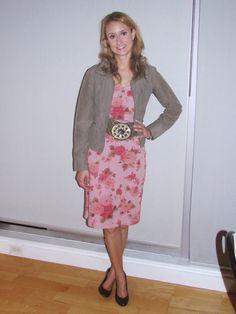 Floral and stripe shift dress, olive cropped jacket, stone belt