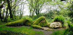 The Sleeping Giant in a garden in Cornwall England