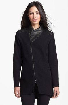 Eileen Fisher Leather Trim Boiled Wool Jacket available at #Nordstrom