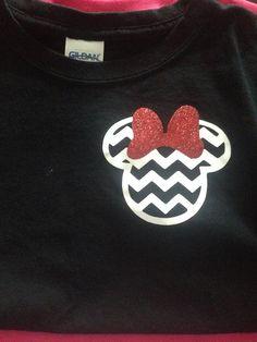 Chevron Minnie Mouse Adult T-Shirt GLITTER VINYL on Etsy, $12.00