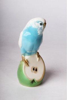 "Lomonosov Imperial Porcelain Figurine Wavy parrot Gosha Russia Rare 5,2"""