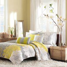6 Piece Bedroom Comforter Yellow / Grey Floral Coverlet Bed Set Queen / King