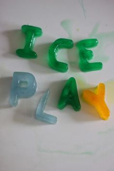Spelling and reading with alphabet ice blocks!