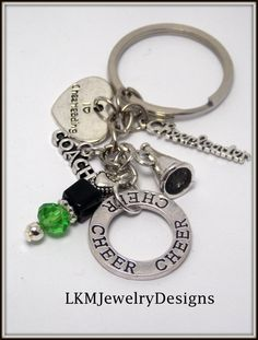 Cheer Coach Key-chain, Cheer Coach Gift, green & black beads, Silver Coach Charm,  gift idea cheer-leading team, end of year gift, banquet,
