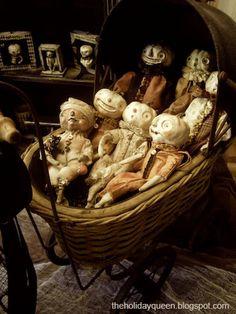Buggy Cart Filled / Halloween pumpkin doll art by Melissa Valeriote