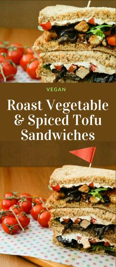 Roast vegetable and spiced tofu sandwiches layered with salad and toppings. The perfect vegan lunch for lunchboxes or lunch at home. #sandwich #sandwiches #sandwichrecipes #sandwichideas #vegansandwiches #roastveg #roastedvegetables #roastvegetables #tofu #spicedtofu #lunch #lunchideas #lunchbox #packedlunch