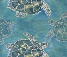 Sea Turtle Batik Style fabric by luv2silkpaint on Spoonflower - custom fabric