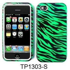 2 in 1 Hybrid White Silicone Rubber Skin Green Zebra Phone Faceplate Cover Case for Apple Iphone 4 4s