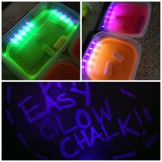 Easy Glow sidewalk chalk-Make highlighter glow water. Soak sidewalk chalk in water for 2 days. Let dry. Requires a black light. @ http://www.kidsplaybox.com/glow-in-the-dark-play-quick-play-idea-in-a-box/?utm_source=rss&utm_medium=rss&utm_campaign=glow-in-the-dark-play-quick-play-idea-in-a-box