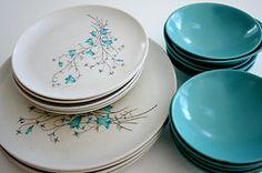 Vintage melmac dinnerwear with bluebells.