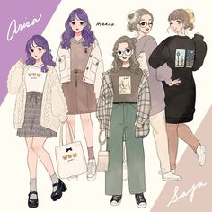 Korean Outfit Street Styles, Korean Outfits, Anime Outfits, Girl Outfits, 1980s Fashion Trends, Matching Costumes, Drawing Anime Clothes, Cute Art Styles, Korean Girl Fashion