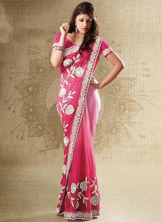 Georgette saris are considered to be the fashionistas love. Spellbinding shaded pink color saree is crafted on faux georgette fabric. Designed with pretty roses embroidery running along the border line embellished with resham, sequins and zari embroidery.