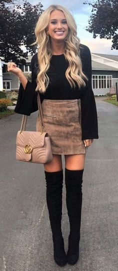 style-terrific-suede-skirt-emily-herren Fashion Outfits Super Style Casual Outfits 2019 Very Nice Amazing Tips Fashionable Cute Outfits For Teens Mode Outfits, Casual Outfits, Fashion Outfits, Womens Fashion, High Boot Outfits, Thigh High Boots Outfit, Night Outfits, Long Boots Outfit, Latest Fashion