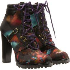 Nicholas Kirkwood Silk And Black Leather Hiking Boots ($540) ❤ liked on Polyvore