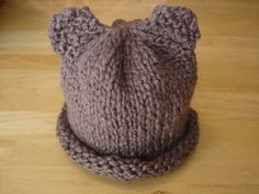 Baby Bear Hat (Free Knitting Pattern for Preemie, Newborn, and Baby.) For needles, but looks like it would be easily adapted to loom-knitting.