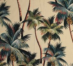 11 tropical leaf print barkcloth fabrics in 31 colorways - Retro Renovation