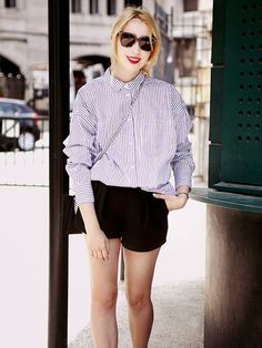 Pair a striped collared blouse with tailored black shorts and simple flats. // #StreetStyle #Fashion