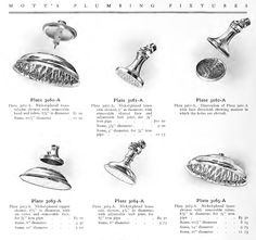 Variety of shower heads available in 1907 Mott's Plumbing catalog. Laurelhurst Craftsman Bungalow.