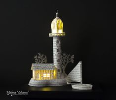 Lighthouse - Diorama - Book Paper Diorama with light - Paper Art - Paper Miniature by MalenaValcarcel on Etsy