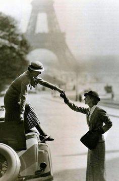 Lucien Lelong, 1934, Paris. Models: Virginia Kent and Peggy Leaf. Photo by George Hoyningen-Huene