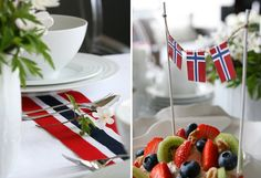 Kremmerhuset-bloggen: 17. mai-bordet: enkelt og stemningsfullt Norway Viking, Constitution Day, Public Holidays, Beautiful Table Settings, Caprese Salad, Party Time, Table Decorations, Fruit, Food