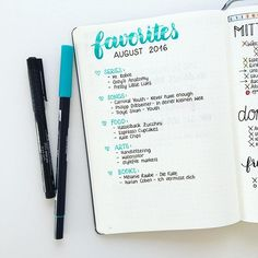 Favoriten bullet journal