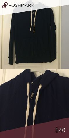 J. Crew Navy Hoodie 51% cotton, 32% polyester, 17% rayon. Lightly work and washed, in great condition. J. Crew Tops Sweatshirts & Hoodies