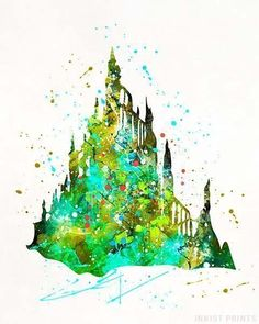 Mermaid Castle, The Little Mermaid Disney Watercolor Print. Prices from $9.95. Available at InkistPrints.com - #disney #watercolor #babyart #decor #nurseryart #LittleMermaid